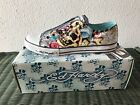 Ed Hardy Mens NEW White Sneakers with box low rise Skull Geisha print shoes