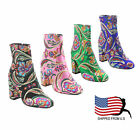 Womens Chunky High Heel Floral Embroidery Ankle Booties