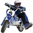 Kids Electric Powered Rocket Dirt Bike Motocross Ride On Pocket Bike Wheels Blue