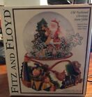 FITZ AND FLOYD HOLIDAY SNOW GLOBE WITH SANTA CLAUS CHRISTMAS TREE AND GIFTS