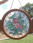 Large Stained Glass Suncatcher Window Wood Frame Floral Pink Roses 25