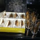 Set of 15   NEW Libbey Golden  Glass Tumblers in Box! Gold Crest Retro OPERA