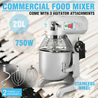 Commercial 20 Quart Food Mixer Three Speed Heavy Duty Bowl Stainless Steel