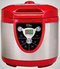 Elite 6 Qt. Pressure Cooker Browning Function Meat Chicken Beans Grains Soup Red