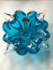 Hand Crafted Vintage Chalet Art Glass Dish Bowl Blue and Clear