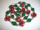 Vintage Lampwork Emerald Green  Red floral art glass bead necklace