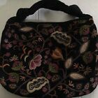 NORDSTROM FLORAL EMBROIDERED BLACK SUEDE LEATHER HOBO SHOULDER BAG PURSE