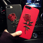Fashion Cute Embroidery Rose Flower Soft Back Case Cover for iPhone X 8 6 7 Plus