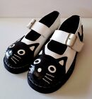 TUK Anarchic Womens Shoes Black White Cat US Sz 9 Leather Upper Mary Jane Buckle