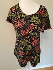 Lularoe Classic Tee T Top Black Red Yellow Floral Small S NWOT