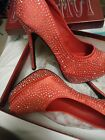 red rhinestone womens shoes size 10