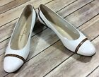 Salvatore Ferragamo Boutique Vintage Shoes Womens 75 AA White Flat Heels Vtg