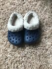 Crocs shoes kids size 6 7 with lining in navy blue