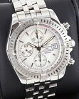 Breitling Evolution Chronograph SS A13356 Silver Dial 43mm Box