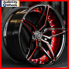 22 MQ 3259 WHEELS BLACK WITH RED INNER STAGGERED RIMS 5x120 FIT BMW 4 SERIES