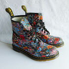 Dr Martens Floral Flower Leather Boots Womens US 8 UK 6 Worn Once Mint Cond