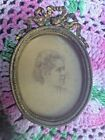 Miniature Antique Brass Oval French Bow Picture Photo Frame
