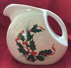 FIESTAWARE CHRISTMAS HOLLY AND RIBBON MEDIUM DISC PITCHER HOMER LAUGHLIN