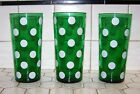 Vintage Fire-King Forest Green W/Polka Dot Fiesta 24oz Tall Iced Tea Glasses.
