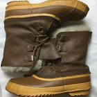 Sorel Lace Up Brown Leather Fiber Lined Insulated Snow Winter Boots Mens Size 11