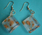 A846) retro silver tone hook pink and gold dichroic fused glass earrings
