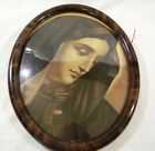 Antique Tiger Oval Wood Picture Frame Curved Bubble Glass Nun Virgin Mary With