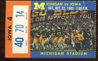 Ticket College Football Michigan 1983 10 22 Iowa
