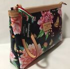 Cavalcanti Italy Leather Floral Butterflies Wristlet Cosmetic Makeup Large Bag