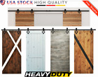 12FT Double Door Barn Door Slide Sliding Track Rail Hanger Hardware Kit Black EG
