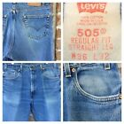 Vintage Levis Red Tab Jeans 36x32 Made in USA 505 Regular Fit Straight Leg