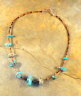 Vintage Santo Domingo Style Necklace Turquoise Nuggets  Brown Pen Shell Heishi
