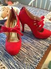 Cherry Red High Heels size 7 5 inch tall ties with bow around ankle or foot