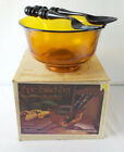 Vintage Indiana Glass 3 pc Salad Set Classic Revere Bowl Amber New Old Stock