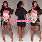 USA Women Ladies Fashion Short Sleeve Print O-Neck Mini Bandage Mini Dress
