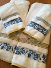 THE ROYAL COMPANY by KARSTEN YELLOW & BLUE ON WHITE TOWEL SET 2 BATH,2 HAND