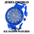 Mens Blue/White Ice Nation Watch Iced Out Hip Hop Bullet Band Wrist Watch
