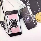 Funny Cute Cemera Design Pattern Back Case Cover For Apple iPhone 7 8 Plus+Strap