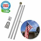 6 Ft Wall Mount Flag Pole Flags Telescoping Holder Outdoor Flagpole Kit Ball Top