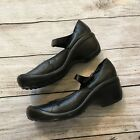 PRIVO 8 Leather Clog Heels Mary Jane Strap Black Sneaker Comfort