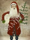 Primitive Christmas Belsnickle Santa Folk Art Feather Tree Sheep Print 8x10