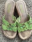 Mudd sandals size 75 lime green with sequins flower