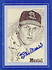 BEAUTIFUL STAN MUSIAL AUTOGRAPHED 5x7 AUTO CARD PRINT GREAT LOOKING