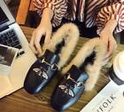 Winter Warm Women Princetown Horsebit Slippers Flats Mules Loafer Embroide Bee