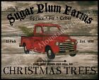Primitive Old Red Truck Christmas Tree Farm Wood Sign Print 8x10