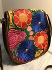 Leather Floral Embroidered Cross body Messenger satchel bag purse hippie hobo M