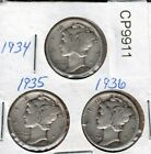 1934 1935 and 1936 Mercury Dime FREE Shipping CP9911