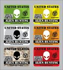 4 or 6 United States Alien Hunting Permit Sticker Decal USA America UFO