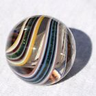 Antique German Latticino Multi Color Swirl Banded Green Lutz Marble Large 1 3/8