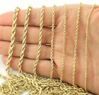 Real 14K Yellow Gold 1mm 5mm Rope Chain Link Necklace Bracelet Mens Women 7 32