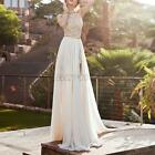 US Lady Floral Sleeveless Lace Bridesmaid Dress Party Wedding Chiffon Boho Dress